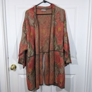 Peruvian Connection floral open cardigan sweater
